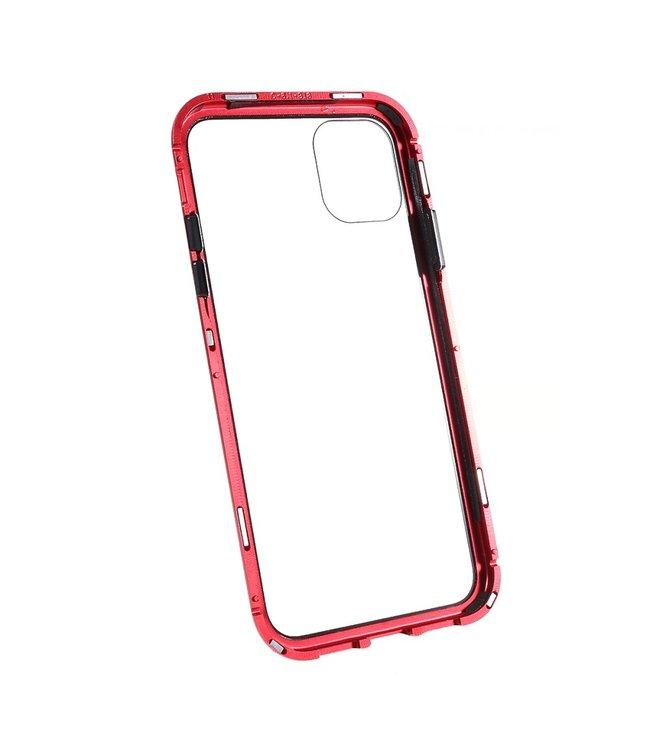 ZWC Hardcase met metalen frame voor iPhone 11 Pro Max 6.5 inch - Rood