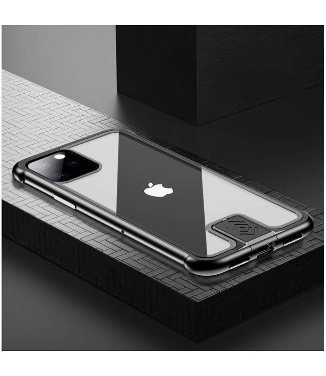 ZWC Stijlvolle cover met metalen frame voor iPhone Pro Max 6.5 inch- Zwart