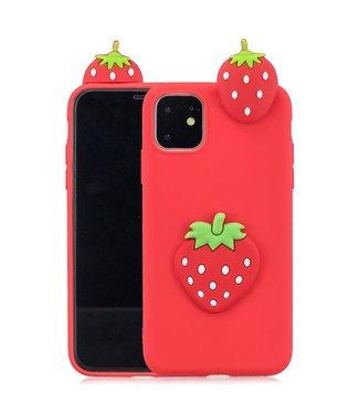 ZWC Speelse softcase met 3D aardbeien voor iPhone 11 Pro 5.8 inch - Rood