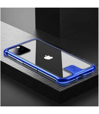 ZWC Stijlvolle cover met metalen frame voor iPhone 11 Pro 5.8 inch- Blauw