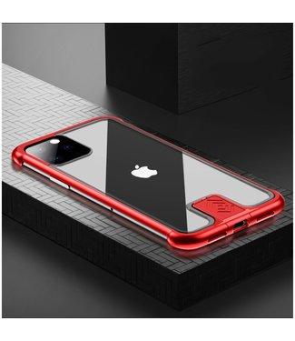 ZWC Stijlvolle cover met metalen frame voor iPhone 11 Pro 5.8 inch- Rood