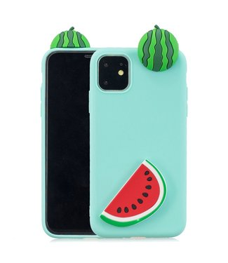 ZWC Zomerse softcase met 3D watermeloenen voor iPhone 11 Pro - Groen