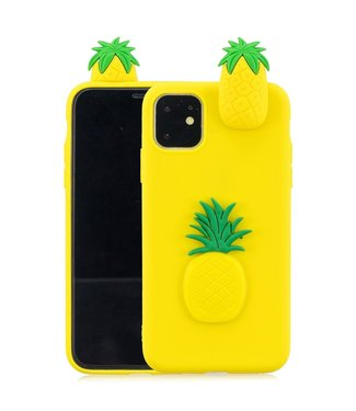 ZWC Speelse softcase met 3D ananas voor iPhone 11 6.1 inch - Geel