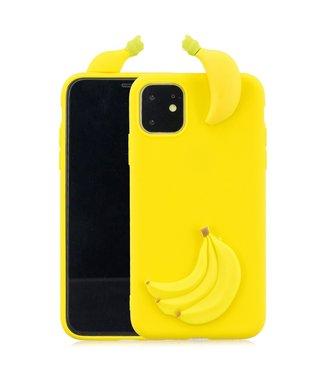 ZWC Speelse softcase met 3D bananen voor iPhone 11 6.1 inch - Geel