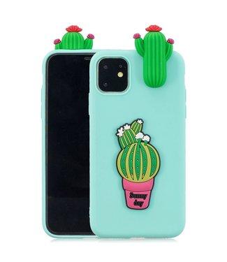 ZWC Speelse softcase met 3D cactussen voor iPhone 11 Pro 5.8 inch - Groen