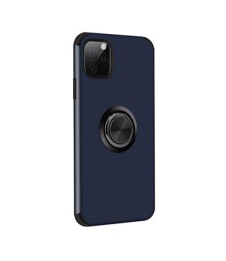 ZWC iPhone cover met afneembare vingerstandaard voor iPhone 11 Pro-Blauw