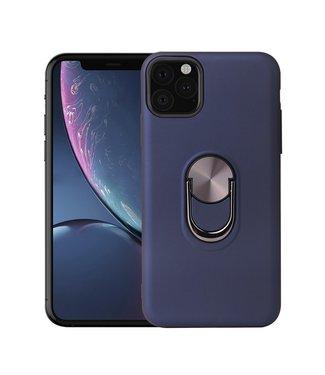 ZWC iPhone cover met afneembare vingerstandaard iPhone 11 Pro Max - Blauw
