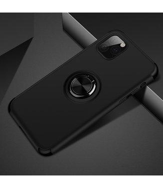 ZWC iPhone cover met afneembare vingerstandaard voor iPhone 11 - Zwart