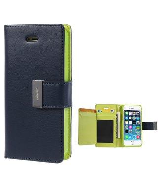 Goospery Bookcase met kaarthouder voor iPhone SE - 5 - 5s - blauw