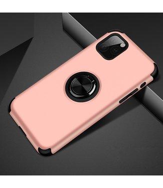 ZWC iPhone cover met afneembare vingerstandaard iPhone 11 Pro Max - Roze