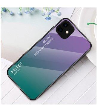 ZWC Iphone cover uit hard kunstglas voor iPhone 11 6.1 inch - Paars