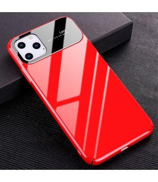 ZWC Glanzende hardcase met gehard glas voor iPhone 11 Pro Max - Rood