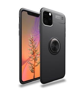 ZWC Handige telefoonhoes met vingerring iPhone 11 6.1 inch - Zwart - Lenuo