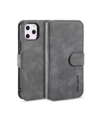 DG-Ming Leren Wallet Case- iPhone 11 Pro Max 6.5 inch- Retro - Grijs