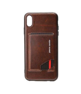 Pierre Cardin Lederen cover met kaartgleuf voor iPhone XS MAX - Bruin- Pierre Cardin