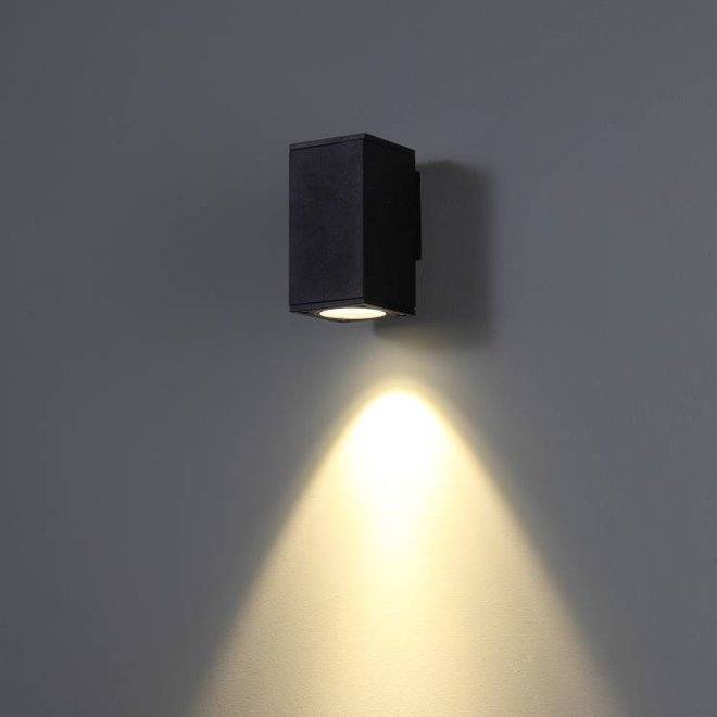 Square LED outdoor wall lamp CUBB  black