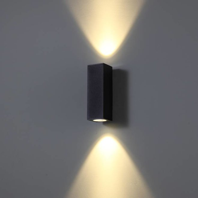 Square LED outdoor wall lamp CUBB  2 black