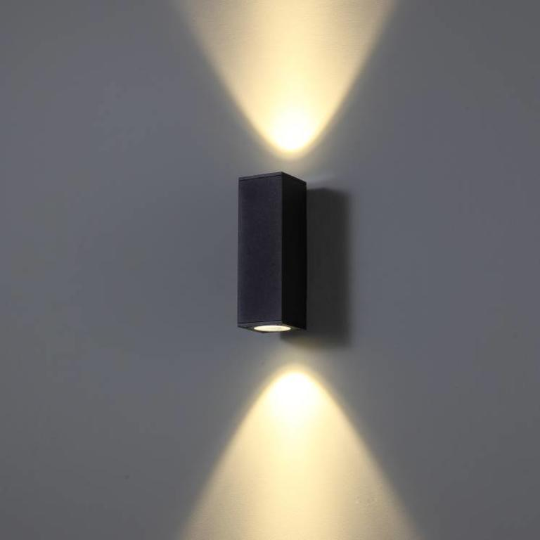 Square Led Outdoor Wall Lamp Cubb 2 Black Lightinova