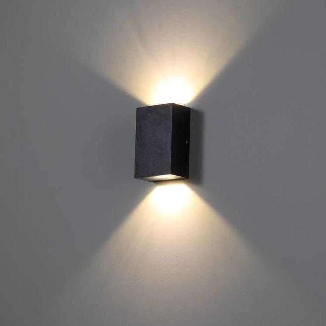 Vierkanten LED buitenwandlamp TREND 2 zwart