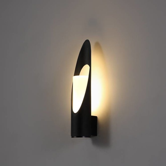 Round LED outdoor wall lamp FLAME  black
