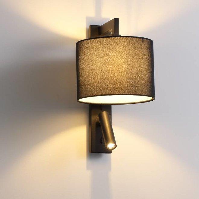 CORA wandlamp met  LED leeslamp zwart