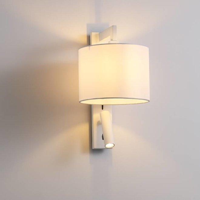 CORA wandlamp met  LED leeslamp wit