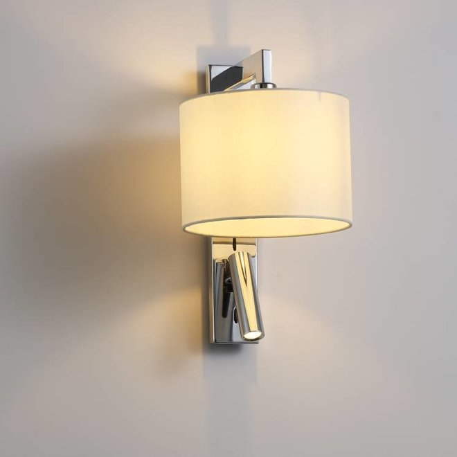 CORA wall lamp with LED reading lamp chrome
