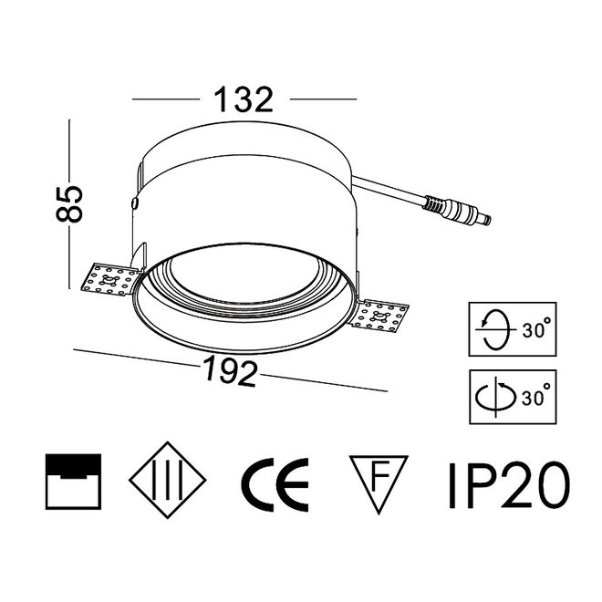 Trimless inbouw LED spot BLEND rond wit ø132 mm