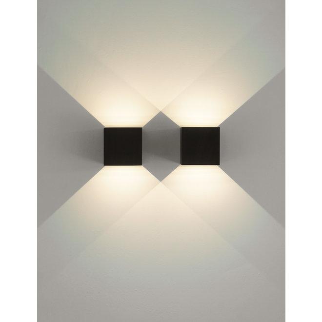 LED binnen/buiten wandlamp BOXX vierkant zwart