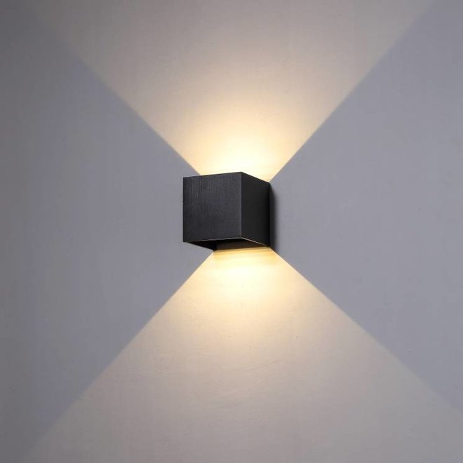 LED binnen/buiten wandlamp CUUB vierkant zwart Dimbaar