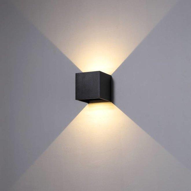 LED binnen/buiten wandlamp BOXX vierkant zwart Dimbaar