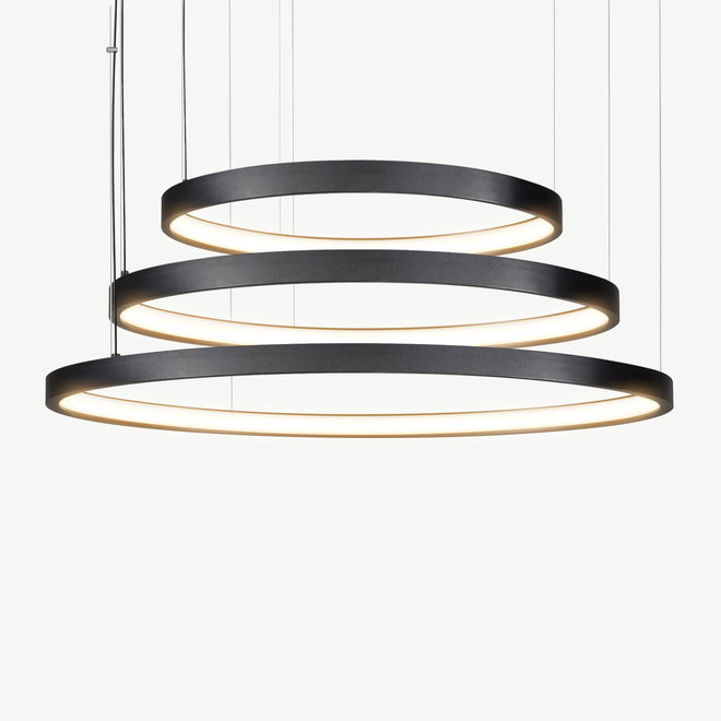 LED 3-ring pendant lamp HALO ø920 mm - black