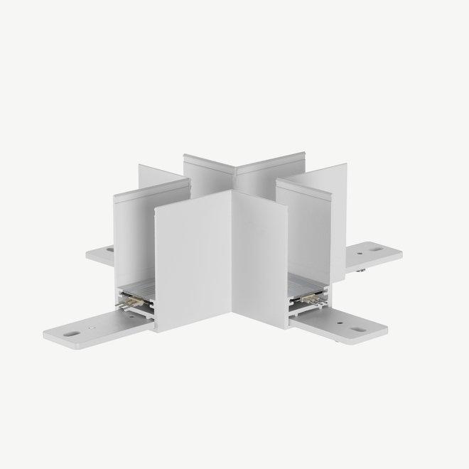 CLIXX magnetic track parts  - surface/pendant cross corner connection - white