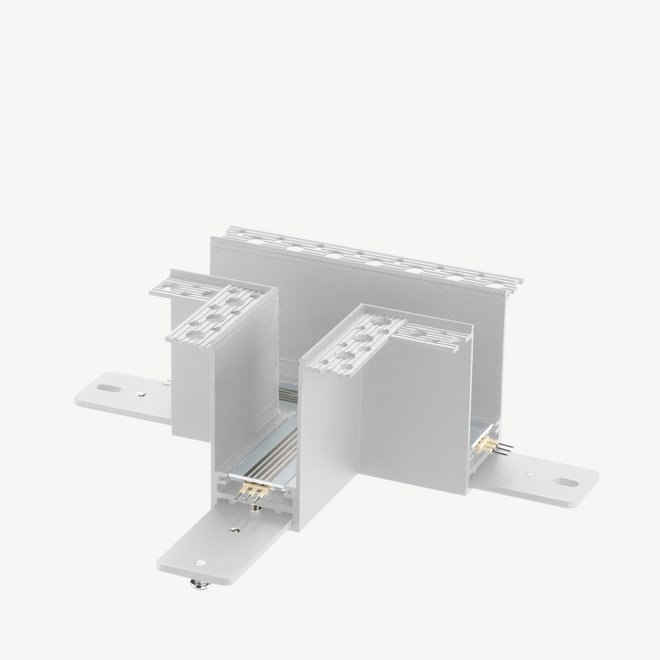 CLIXX magnetic track light system - recessed T corner connection - white