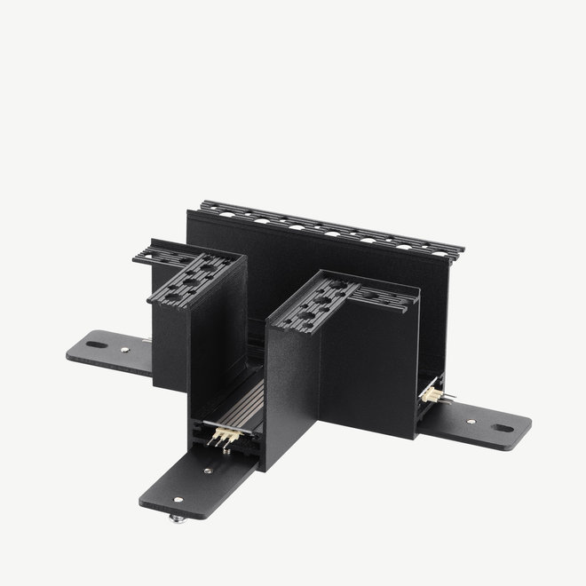 CLIXX magnetic track light system - recessed T corner connection - black