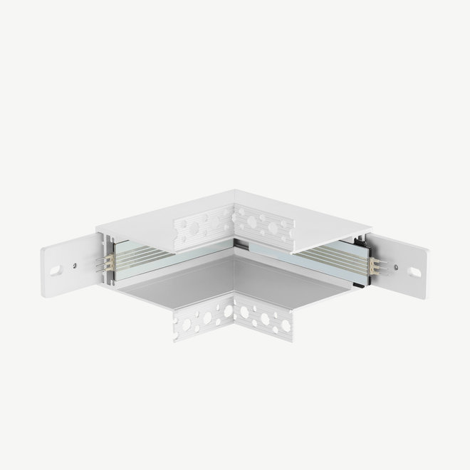 CLIXX magnetic track parts  - recessed inner corner connection - white