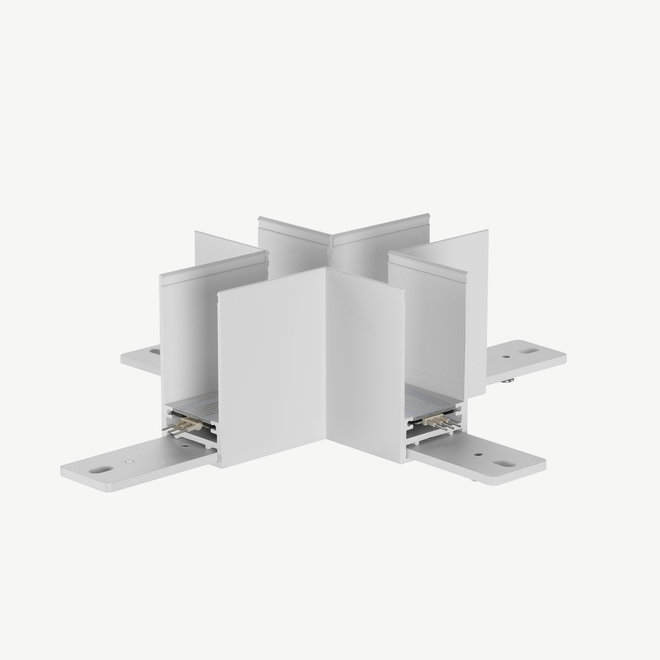 CLIXX SLIM magnetic track light system - surface/pendant cross corner connection - white