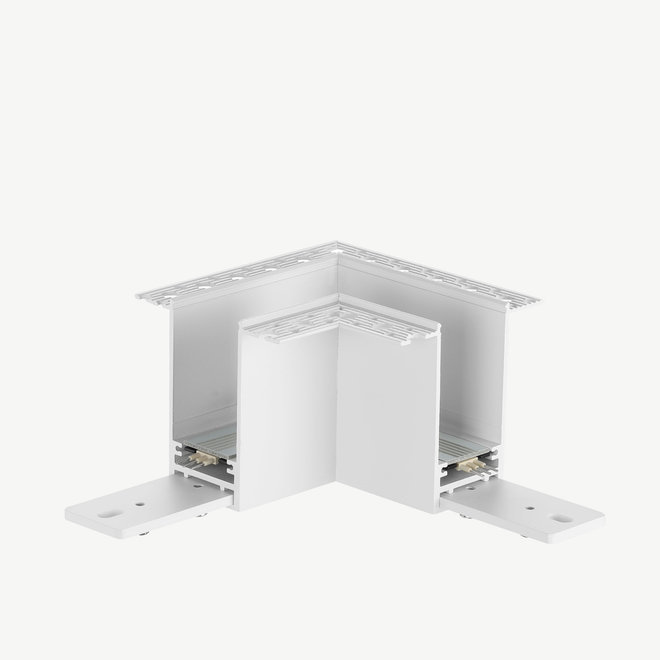 CLIXX magnetic track parts  - recessed 90° corner connection - white
