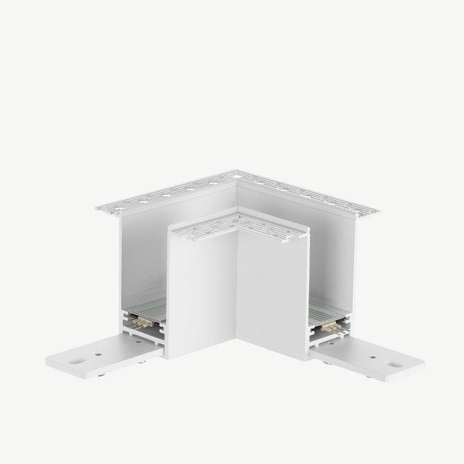CLIXX SLIM magnetische track onderdelen - inbouw 90° hoekverbinding - wit