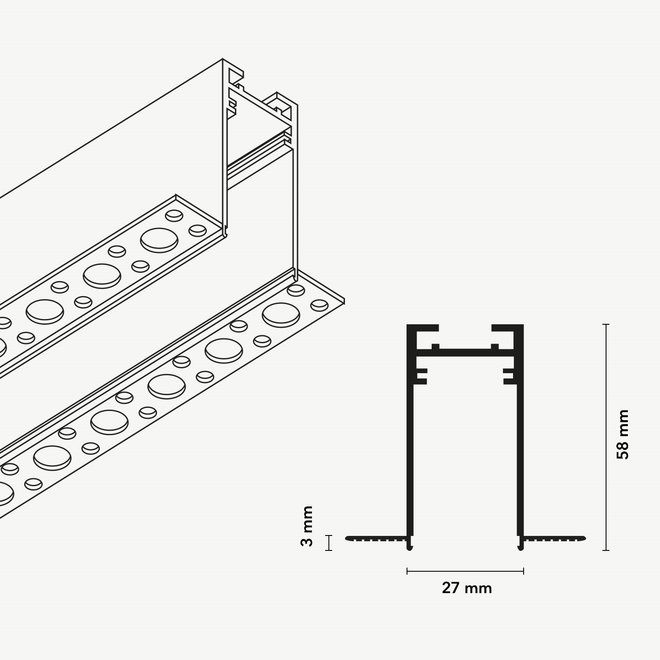 CLIXX SLIM magnetisch rail verlichtingssysteem - inbouw (trimless) profiel - zwart