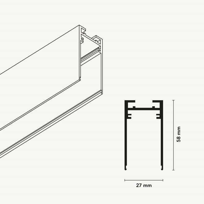 CLIXX SLIM magnetisch rail verlichtingssysteem - opbouw profiel - wit