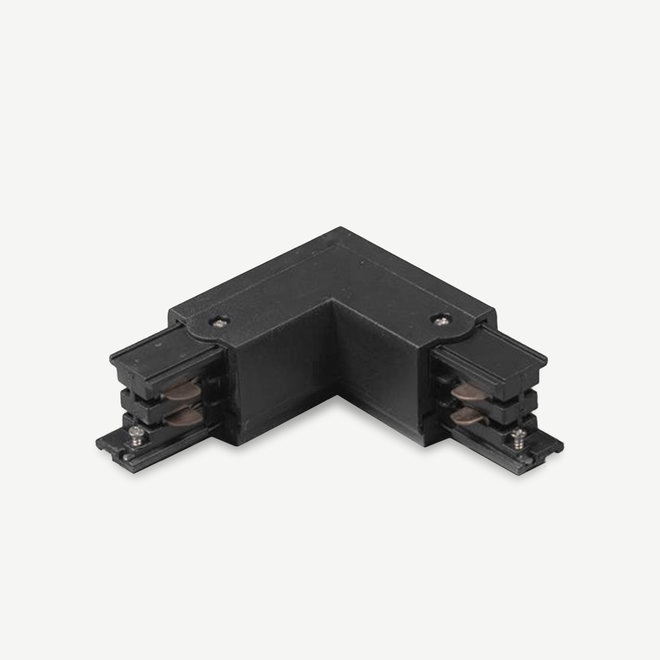 ONTRACK 3-phase track lighting system - surface profile L-connector Outside- black