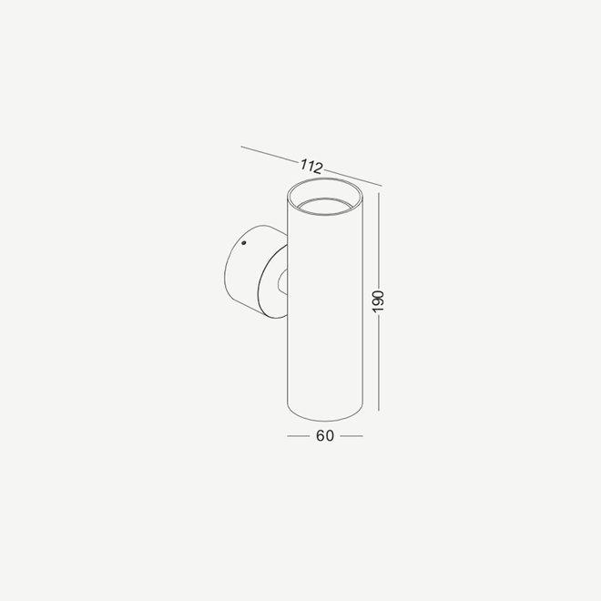 Opbouw wand spot TUUB up-down met GU10 fitting - zwart