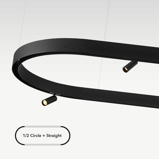 CLIXX magnetic track light system - surface/pendant 1/2 circle connection - black
