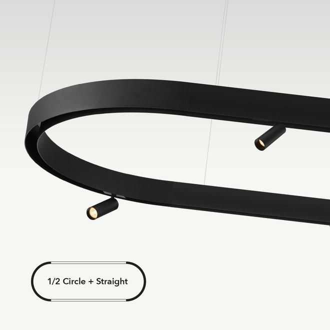 CLIXX magnetisch rail verlichtingssysteem - opbouw/pendel 1/2 cirkel verbinding - zwart