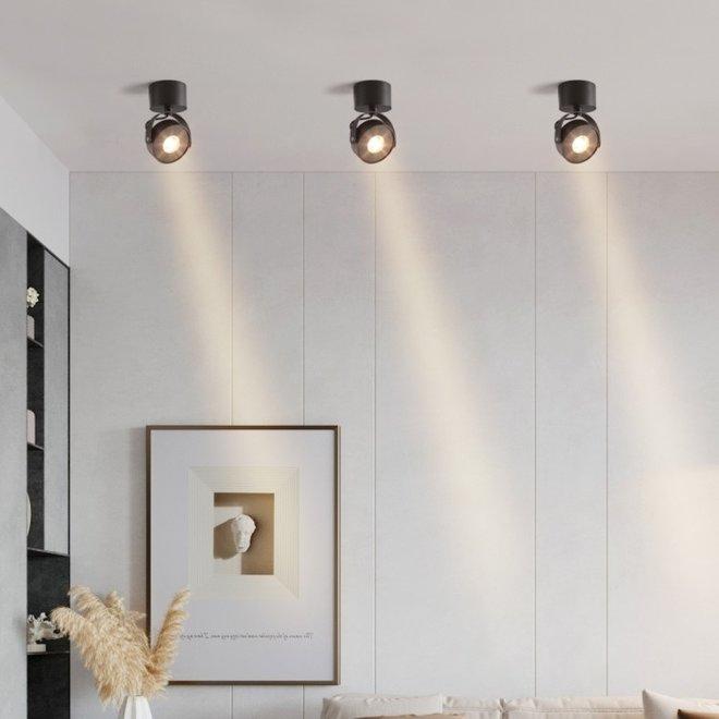 Wand- / Plafondspot BRANDON LED Ø 105 mm vierkant - zwart