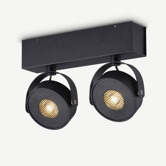 Wand- / Plafondspot BRANDON LED Ø 105 mm dubbel - zwart