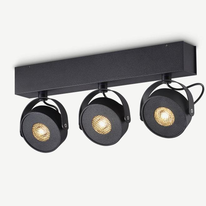 Wall / Ceiling spot BRANDON LED Ø 105 mm 3 double - black