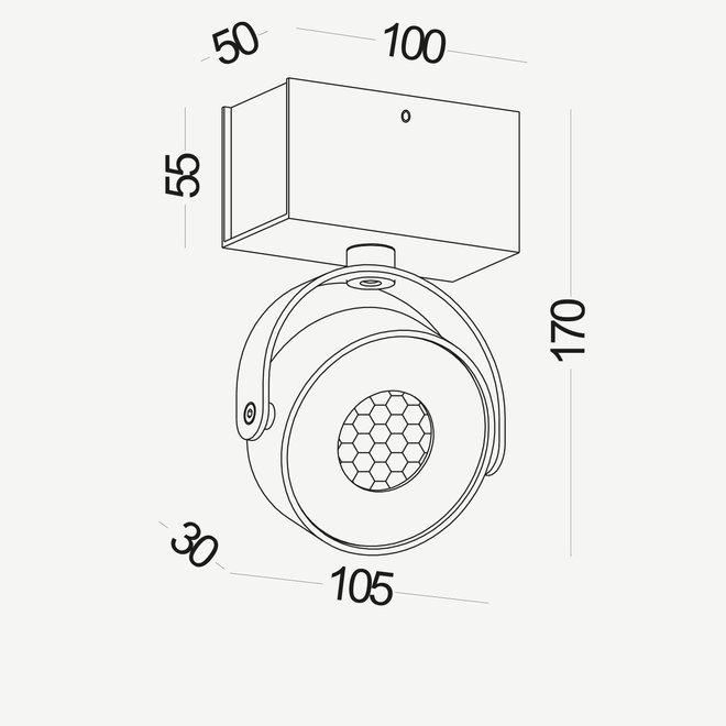 Wand- / Plafondspot BRANDON LED Ø 105 mm vierkant - wit