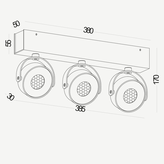 Wand- / Plafondspot BRANDON LED Ø 105 mm 3 dubbel - wit